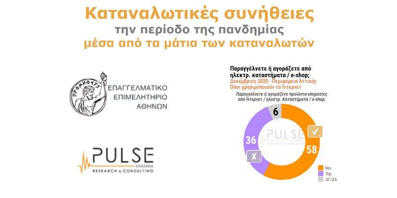 Μεγάλη έρευνα του Ε.Ε.Α. και της Pulse R.C. για τις καταναλωτικές συνήθειες των πολιτών εν μέσω της πανδημίας και το ρόλο του ηλεκτρονικού εμπορίου
